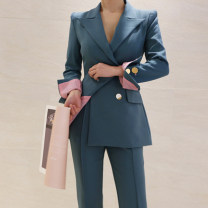 Professional pants suit Pink, peacock blue S,M,L,XL Autumn of 2019 Jacket, other styles Long sleeves trousers
