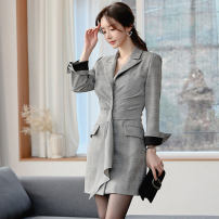 Dress Winter of 2019 grey S,M,L,XL Short skirt singleton  Long sleeves commute tailored collar middle-waisted lattice Single breasted One pace skirt routine Others 25-29 years old Type X Korean version Pleating, pleating, stitching, asymmetry, buttons