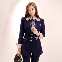 Professional pants suit navy blue S,M,L,XL Winter of 2019, autumn of 2019 loose coat Long sleeves trousers