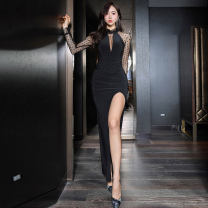 Dress Spring 2020 black S,M,L,XL longuette singleton  Long sleeves commute stand collar middle-waisted Solid color zipper One pace skirt routine Others 25-29 years old Type X Korean version Hollowed out, stitched, gauze mesh, zipper