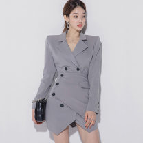 Dress Winter 2020 Blue grey S,M,L,XL Short skirt Two piece set Long sleeves commute tailored collar middle-waisted Solid color double-breasted Irregular skirt routine Others 25-29 years old Type H Korean version Stitching, asymmetry, buttons