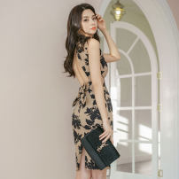 Dress Summer 2020 brown S,M,L,XL Middle-skirt singleton  Sleeveless commute stand collar High waist Decor zipper One pace skirt routine Others 25-29 years old Type X Ol style Bowknot, open back, fold, stitching, button, zipper, printing