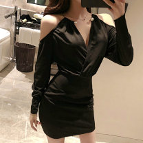 Dress Autumn 2020 black S,M,L Short skirt singleton  Long sleeves commute V-neck middle-waisted Solid color zipper One pace skirt routine Hanging neck style 25-29 years old Type X Korean version Open back, stitching, beading, zipper