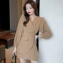 Dress Autumn 2020 Black, brown S,M,L,XL Short skirt singleton  Long sleeves commute V-neck High waist Solid color zipper A-line skirt bishop sleeve Others 25-29 years old Type A Korean version Panel, zipper