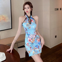 cheongsam Summer 2021 S,M,L blue Short sleeve Short cheongsam Retro Low slit daily Big flower 18-25 years old Piping