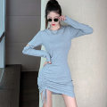 Dress Autumn 2020 Gray, black S,M,L,XL Short skirt singleton  Long sleeves commute Crew neck middle-waisted Solid color Socket One pace skirt routine Others 25-29 years old Type X Korean version Bowknot, tuck, fold, lace up, stitching