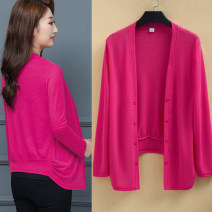 Wool knitwear Spring 2021 XL,2XL,3XL,4XL,5XL Black, dark green, sky blue, treasure blue, rose red, light purple, skin pink Long sleeves singleton  Cardigan cotton 51% (inclusive) - 70% (inclusive) Thin money commute easy routine Solid color double-breasted Korean version