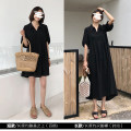 Dress Summer 2020 Temperament Black / long, Hepburn Black / short L,XL,2XL,3XL,4XL singleton  Short sleeve commute Loose waist Solid color Socket Type A Other / other Korean version
