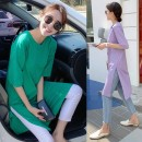 Dress Spring 2021 Green, taro purple M (recommended 85-115 kg), l (recommended 115-130 kg), XL (recommended 130-145 kg), 2XL (recommended 145-165 kg) Mid length dress singleton  Short sleeve commute Crew neck High waist Solid color Socket One pace skirt routine Others Type A Other / other other