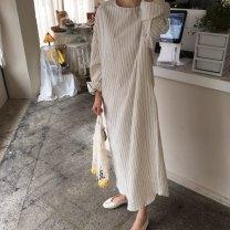 Dress Autumn 2020 white Average size longuette singleton  Long sleeves commute Crew neck Loose waist stripe Socket routine Type A Korean version 81% (inclusive) - 90% (inclusive) other cotton