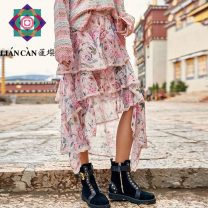 skirt Summer 2021 S M L Decor Mid length dress dream Natural waist Cake skirt 25-29 years old More than 95% Lian can polyester fiber Polyester 100% Same model in shopping mall (sold online and offline)