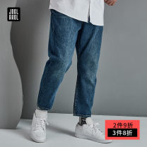 Jeans Youth fashion Joglakol / jorag 2XL 3XL 4XL 5XL 6XL blue routine No bullet Regular denim trousers Cotton 100% spring Large size middle-waisted Loose straight tube tide 2021 Straight foot zipper Three dimensional tailoring Spring 2021 cotton Pure e-commerce (online only)
