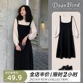Dress Spring 2021 Knitted dress [fake two-piece dress] two piece suit S M L XL 2XL 3XL 4XL Mid length dress Two piece set Long sleeves Sweet Crew neck High waist Solid color Socket other routine straps 18-24 years old Dear bird 11-18C5061 51% (inclusive) - 70% (inclusive) polyester fiber solar system