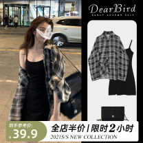 Dress Spring 2021 T-shirt blouse [cold air womens dress] sling small black skirt [short [salt] sweet Street dress] suit [short style] S M L XL 2XL 3XL 4XL Mid length dress singleton  Long sleeves commute Polo collar High waist lattice Single breasted Pencil skirt routine camisole 18-24 years old