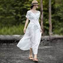 Dress Summer of 2019 white longuette singleton  Short sleeve commute V-neck middle-waisted Solid color Socket other other Hanging neck style 30-34 years old Type A literature 91% (inclusive) - 95% (inclusive) other hemp
