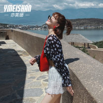 Split swimsuit Yi Meishan Small black flowers Triangle swimsuit With chest pad without steel support spandex Summer 2020 no Crew neck Sleeveless