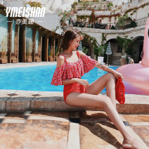 Split swimsuit Yi Meishan gules M recommended weight 88-100 kg l recommended weight 100-118 kg XL recommended weight 118-128 kg Triangle swimsuit Steel strap breast pad Nylon spandex polyester YMS199055 Summer of 2018 Short sleeve