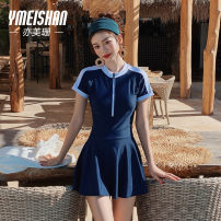 one piece  Yi Meishan M L XL Blue swimsuit + white swimsuit cap + Black flat light swimsuit + silicone bra a cup swimsuit + silicone bra B cup swimsuit + silicone bra c cup One piece flat corner swimsuit With chest pad without steel support Nylon spandex YMS209209 Spring 2020 no female Short sleeve