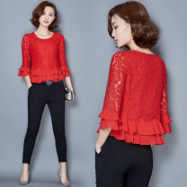 Lace / Chiffon Spring 2021 Black, red 3XL,4XL,M,L,XL,2XL three quarter sleeve Sweet Socket singleton  Self cultivation Regular Crew neck Solid color Lotus leaf sleeve 25-29 years old 30% and below Ruili