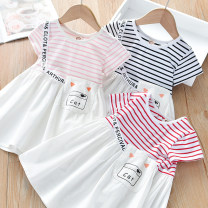 Dress Pink striped dress, red striped dress, black striped dress female Thepigbaby 90cm.,100cm.,110cm.,120cm.,130cm. Cotton 90% other 10% summer Korean version Short sleeve stripe cotton A-line skirt x6927 Class B 18 months, 2 years old, 3 years old, 4 years old, 5 years old, 6 years old Foshan City