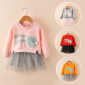 Dress female Thepigbaby Other 100% spring and autumn leisure time Long sleeves Cartoon animation cotton Irregular Class B 18 months, 2 years old, 3 years old, 4 years old, 5 years old, 6 years old
