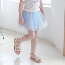 skirt 110cm,120cm,130cm,140cm,150cm wathet Boatmouse / boatmouse female Cotton 95% polyurethane elastic fiber (spandex) 5% summer skirt princess Solid color Pleats Cotton blended fabric Class B