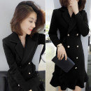 Dress Autumn of 2019 black S,M,L Mid length dress singleton  Long sleeves street tailored collar High waist Solid color double-breasted routine Others Type H Fanlis F184n05983p 51% (inclusive) - 70% (inclusive) other other Europe and America