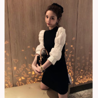 Dress Spring 2020 Black dress, black top S,M,L Middle-skirt Fake two pieces Long sleeves commute Crew neck High waist Solid color Socket A-line skirt puff sleeve Others 18-24 years old Type X 81% (inclusive) - 90% (inclusive) knitting cotton