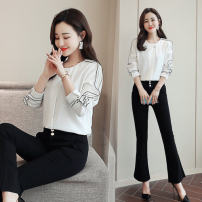 shirt white S,M,L,XL Spring 2021 polyester fiber 91% (inclusive) - 95% (inclusive) Long sleeves commute Regular Crew neck Socket routine Solid color Straight cylinder Other / other Korean version CS Button polyester cotton