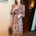 Dress Spring 2021 Picture color S,M,L longuette singleton  Long sleeves commute V-neck High waist Decor Socket A-line skirt routine 25-29 years old Type A Korean version Chiffon polyester fiber
