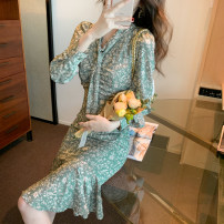 Dress Spring 2021 green S,M,L,XL Mid length dress singleton  Long sleeves commute Crew neck High waist Decor Socket A-line skirt routine Others 18-24 years old Type A Korean version printing other