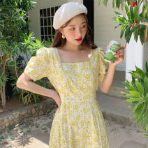 Women's large Summer 2020 yellow S m large L Large XL Dress singleton  commute Socket Short sleeve Broken flowers Korean version square neck polyester fiber puff sleeve Pu Zi 18-24 years old 71% (inclusive) - 80% (inclusive) longuette Polyester 80% other 20% Pure e-commerce (online only)