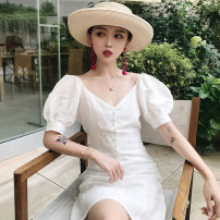 Women's large Summer 2020 white S m large L Large XL Dress singleton  Socket Short sleeve Solid color V-neck polyester fiber puff sleeve Pu Zi 18-24 years old 71% (inclusive) - 80% (inclusive) Short skirt Polyester 80% other 20% Pure e-commerce (online only)