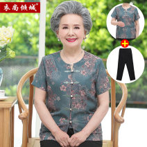 Middle aged and old women's wear Summer 2020 Blue (top + Capris) Tan (top + Capris) rose red (top + Capris) L [recommended 80-95 kg] XL [recommended 95-110 kg] 2XL [recommended 110-125 kg] 3XL [recommended 125-140 kg] 4XL [recommended 140-150 kg] ethnic style shirt easy Two piece set Retro Design