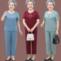 Middle aged and old women's wear Summer 2020 Sky blue lake blue dark red L [recommended 80-95 kg] XL [recommended 95-110 kg] 2XL [recommended 110-120 kg] 3XL [recommended 120-135 kg] 4XL [recommended 135-155 kg] ethnic style suit easy Two piece set Retro Design Over 60 years old Socket thin Crew neck
