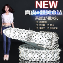 Belt / belt / chain Double skin leather female belt Versatile Single loop Middle aged youth Pin buckle Diamond inlay soft surface 3.3cm alloy