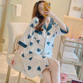 Nightdress Other / other 160(M),165(L),170(XL),175(XXL),XXXL Sweet Short sleeve pajamas Middle-skirt summer Cartoon animation youth Small lapel Iced silk printing More than 95% 200g and below