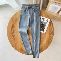 Jeans Spring 2021 wathet 26,27,28,29,30,31 trousers High waist Pencil pants routine 18-24 years old washing light colour KM-WXX606 30% and below