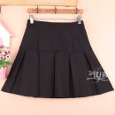 skirt Winter 2020 S9 is for a waist of 1-9-2, M11 is for a waist of 2-1-2, L13 is for a waist of 2-2-2-3, XL15 is for a waist of 2-4-2-5 black Short skirt Versatile High waist Pleated skirt Solid color Type A 51% (inclusive) - 70% (inclusive) other cotton Fold, splice