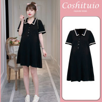 Dress Summer 2020 Black open breast feeding M,L,XL,2XL Short skirt Two piece set Short sleeve commute tailored collar middle-waisted lattice Pleated skirt routine 18-24 years old Yuanchuan maternity dress 91% (inclusive) - 95% (inclusive) polyester fiber