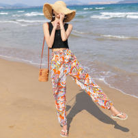 Casual pants S M L XL 100CM 110CM 120CM 130CM 140CM 150CM XXL XXXL XXXXL Autumn of 2018 trousers Haren pants High waist Sweet Thin money 40-49 years old 96% and above 1608MC two point one four other pocket Viscose Viscose (viscose) 100% Pure e-commerce (online only) Bohemia