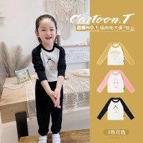 T-shirt Ginger, peach powder, classic black Amybaby 80cm, 90cm, 110cm, 120cm, 130cm, 150cm, 100cm (Baoer life code), 140cm (Amy life code) female spring and autumn Long sleeves Crew neck Simplicity There are models in the real shooting nothing cotton other Cotton 100% Cartoon color contrast t other