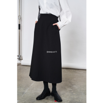 skirt Spring 2021 S,M,L black Mid length dress commute High waist other Solid color 71% (inclusive) - 80% (inclusive) other cotton Korean version