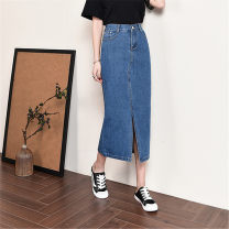 skirt Spring of 2019 26 (1'9), 27 (2's), 28 (2'1), 29 (2'2), 30 (2'3), 31 (2'4), 32 (2'5), 33 (2'6), 34 (2'7), 36 (2'8), 38 (2'9), 40 (3's) wathet longuette grace High waist Denim skirt Solid color Type H 30-34 years old j-2891 71% (inclusive) - 80% (inclusive) Denim Rulianxue Yinuo cotton Splicing