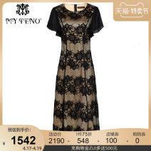 Dress Summer 2020 black 36/S 38/M 40/L 42/XL 44/2XL 46/3XL longuette singleton  Short sleeve Crew neck Socket Big swing other Others 35-39 years old My Teno / Martino Patchwork lace 30% and below nylon Same model in shopping mall (sold online and offline)