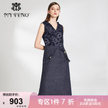 Dress Summer of 2019 navy blue 36/S 38/M 40/L 42/XL 44/2XL 46/3XL Mid length dress Sleeveless commute V-neck High waist zipper other Others 30-34 years old My Teno / Martino lady 51% (inclusive) - 70% (inclusive) hemp Same model in shopping mall (sold online and offline)
