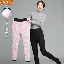 Middle aged and old women's wear Winter 2020 black 27 (recommended 80-90 kg) 28 (recommended 90-105 kg) 29 (recommended 105-120 kg) 30 (recommended 120-135 kg) 31 (recommended 135-150 kg) 32 (recommended 150-160 kg) 33 (recommended 160-170 kg) fashion trousers easy singleton  Solid color thickening