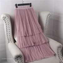skirt Spring of 2019 S,M,L White (regular), black (regular), pink (regular), apricot (regular), plush white, plush apricot, plush black, 6-layer mesh white, 6-layer mesh black, 6-layer mesh pink, 6-layer mesh apricot Mid length dress commute High waist Cake skirt Solid color Type A 18-24 years old