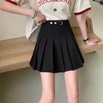 skirt Summer 2020 M,L,XL,2XL,3XL,4XL black Short skirt Versatile High waist A-line skirt Solid color Type A orchid Three dimensional decoration