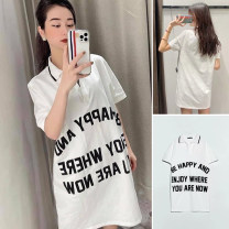 T-shirt Lapel letter print XS,S,M,L Summer 2021 other 96% and above TRAF